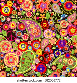 Colorful wallpaper with funny spring flowers, paisley and peace symbol
