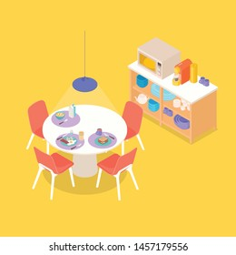 Colorful warm isometric dinning space in yellow. Vector illustration in flat design, isolated.