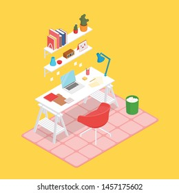 Colorful warm isometric work space in yellow. Vector illustration in flat design, isolated.