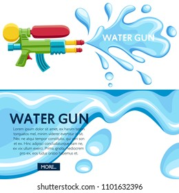 Colorful water gun. Water splash on white background. Flat vector illustration. Place for your text. Website page and mobile app design.