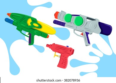Colorful Water Gun Vector Pack 2