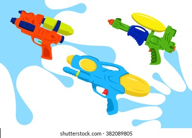 Colorful Water Gun Vector Pack