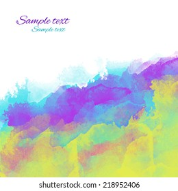 Colorful watercolor background with waves and space for text. Paint stain, brush strokes