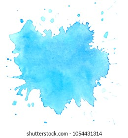 Colorful  watercolor blots on white background . Hand painted  stain. Vector illustration