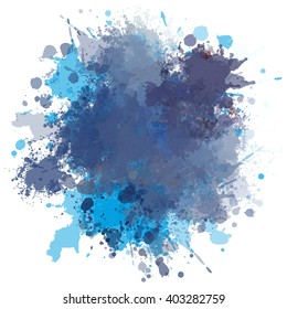 Colorful watercolor blots and splashes on a white background. A simple element of design for creation of more difficult ideas.