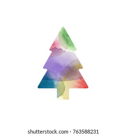 Colorful watercolor Christmas tree on white background