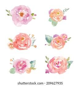 Colorful Watercolor Flower Bouquets Vector