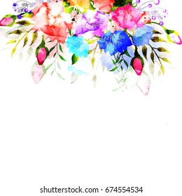 Colorful watercolor flowers decorated elegant background.
