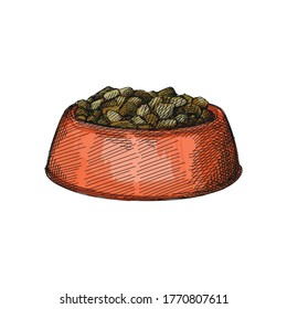 Colorful watercolor Hand-drawn sketch of Pet Food Bowl on a white background. Bowl with food for dogs or cats. Pet supplies. Care for home animals.