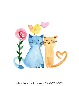 Colorful watercolor illustration with sweet cats, bird and flowers perfect for valentine's day