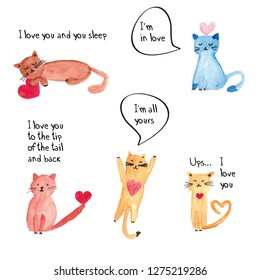 Colorful watercolor illustration with sweet cats perfect for valentine's day