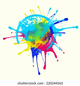Colorful  watercolor colorful rainbow splash, paint stain, firework, boom isolated on a white background. Art abstract