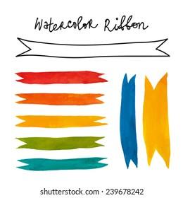 Colorful watercolor ribbons set.