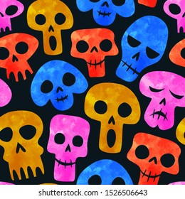 Colorful watercolor skull seamless pattern, funny emoticon face skeleton cartoon for day of the dead or halloween holiday background.