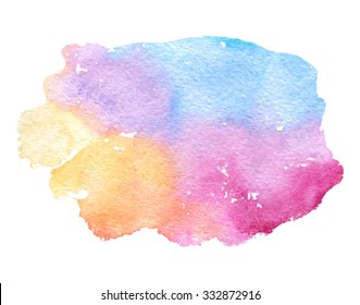 Colorful watercolor smudges brush painted isolated spot on white background. Abstract wash hand drawn blue yellow orange pink violet purple vector illustration. Artistic paper texture design element