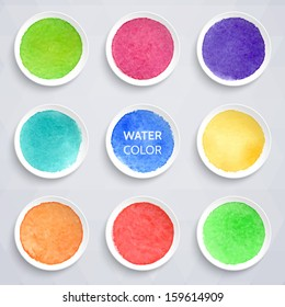 Colorful watercolor stains on round pieces of paper. Vector illustration. Elements for design.