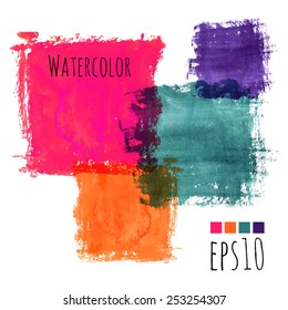 colorful watercolor stains (pink, violet, green, orange) - squares with rough strokes and edges in grunge style, stroke brush and the paint texture - isolated on white background vector illustration