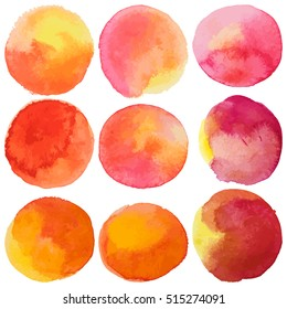 colorful watercolor stains and splashes with rough strokes. Paint texture - isolated on white background vector illustration. Yellow, red, orange colors
