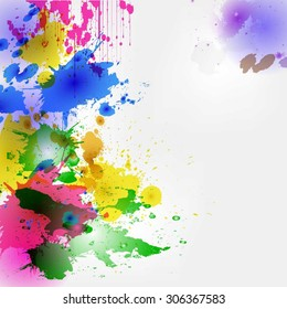 Colorful watercolor style blots and drops vector illustration