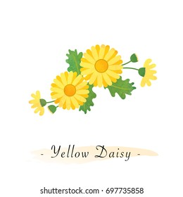 Colorful watercolor texture vector botanic garden flower asteraceae yellow daisy