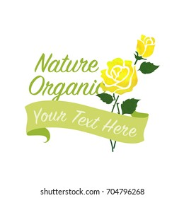 Colorful watercolor texture vector nature botanic garden flower banner yellow rose
