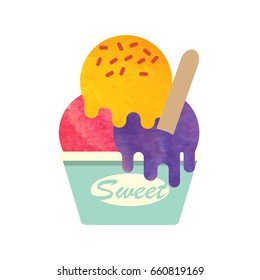Colorful watercolor texture vector popsicle ice cream sweet summer dessert