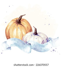Colorful watercolor thanksgiving illustration (eps10);