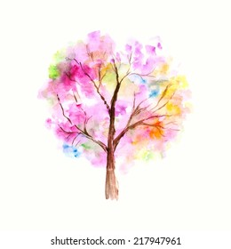 Colorful watercolor tree background