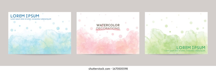 colorful watercolor vector background set: blue pink green