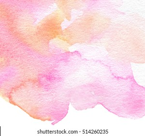 Colorful watercolor wave pink orange white hand drawn paper texture vector stylized card for text design, web, print. Abstract bright color aquarelle brush paint magic background for wallpaper, blank