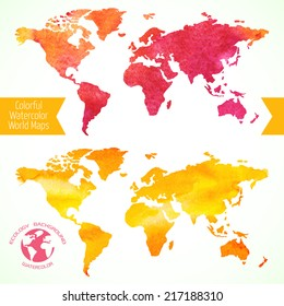 Colorful watercolor world maps. Vector illustration for your design.