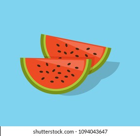 Colorful watermelon pieces vector illustration, happy summer holliday design