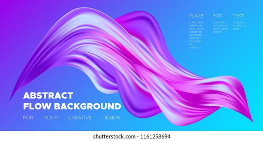 Colorful Wave Shapes. 3d Abstract Background. Trendy Vector Illustration EPS10 for Your Creative Art Design. Fluid Interweaving. Flow Poster with Abstract Bright Liquid Shapes in Futuristic Style.