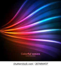 Colorful waves on a black background. Vector illustration can be used for web design, wallpapers, futuristic designs and banners.