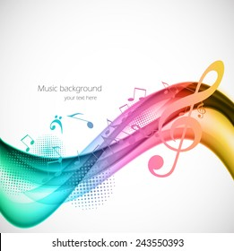 Colorful wavy music background with notes and g-clef