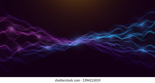Colorful Wavy Particles Surface on Dark Background. Technology or Science Banner. Dots Waves with DOF Effect. EPS10 Vector Illustration.