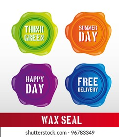 colorful wax seal with text over gray background. vector