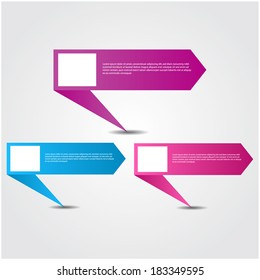 colorful  web banners / speech boxes.