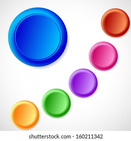 Colorful web buttons, set of six
