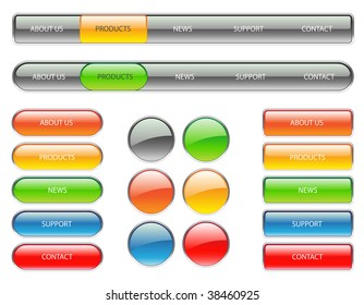 colorful website navigation buttons-easy to edit