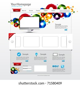Colorful website template with clean modern design and gallery slider