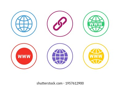 Colorful Website URL Icon Set