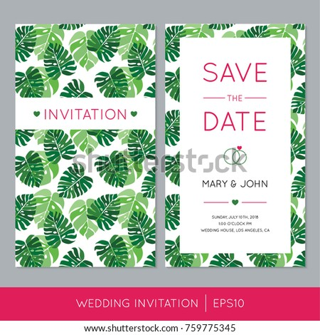 Colorful Wedding Invitation Template Tropical Palm Stock Vector ...