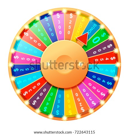 Colorful Wheel Luck Fortune Realistic Vector Stock Vektorgrafik