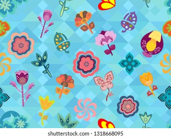 colorful whimsical floral pattern tile over geometric texture. modern design for textile, fabric, wallpaper, backgrounds, backdrops, templates and creative surface designs, the tile is seamless