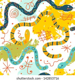 Colorful whimsical pattern with funny snakes. Vector seamless background