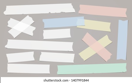 Colorful white adhesive, sticky, masking, duct tape strips for text are on grey background. Vector illustration