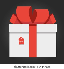 Colorful White Red Wrapped Gift Box Isolated On Black Background Flat Vector Illustration