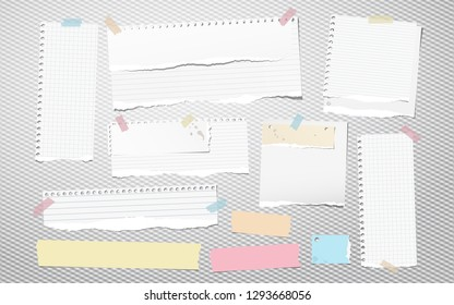 Colorful and white ripped lined notebook paper, torn note paper strips stuck on squared background. Vector illustration