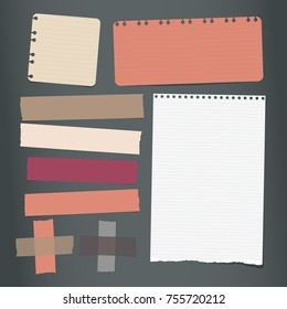 Colorful, white ripped lined notebook, note paper, sticky adhesive tape for text or message on black background. Vector illustration.